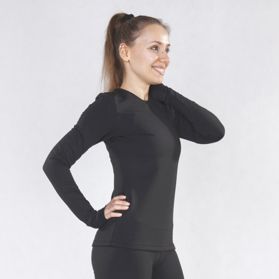 Warm long sleeve shirt Basic black
