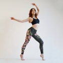 Leggings jacquard with a floral motif
