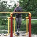 Sportspullover Maria schwarz-rosa