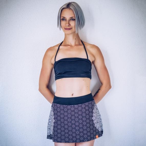 Spódniczka z szortami Merdeka czarno-biała